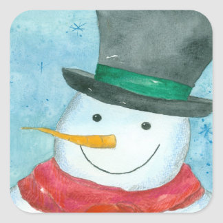 Snowman Black Top Hat Christmas Holiday Watercolor Square Sticker