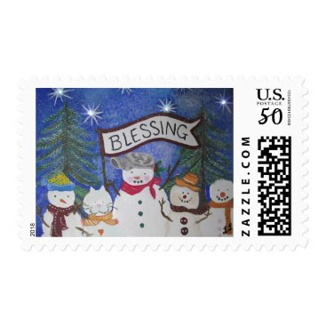 Snowman Blessing Postage Stamp