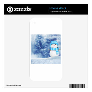 Snowman Blue Background Scarf December Winter Decal For The iPhone 4S