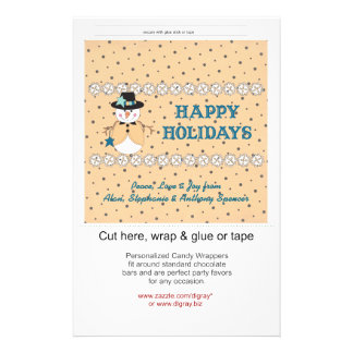 Snowman Blue Holiday Candy Wrappers Flyer Design