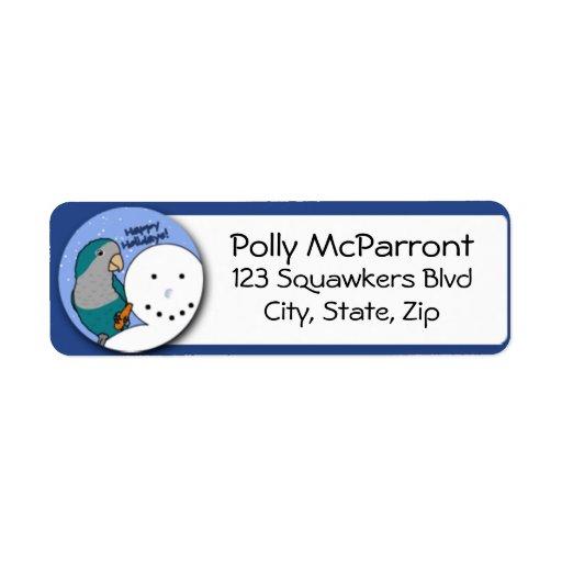 Snowman Blue Quaker Parakeet Return Address Label