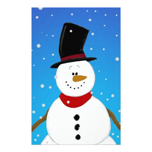 Snowman - Blue Stationery