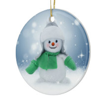 Snowman Blue Winter Merry Christmas Ornaments