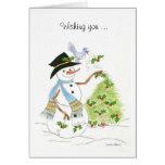 Snowman Bluebird Greeting Card