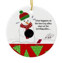 Snowman Bowler Ceramic Ornament