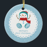 """Snowman Boy Personalized Baby's First Christmas Ceramic Ornament<br><div class=""""desc"""">Baby's First Christmas Ornament features an adorable snowman boy set on a blue & white polka dotted background!   Easy to personalize with your info & date</div>"""