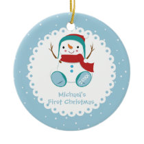 Snowman Boy Personalized Baby's First Christmas Ceramic Ornament