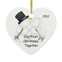 Snowman BRIDE & GROOM First Christmas Together Ceramic Ornament