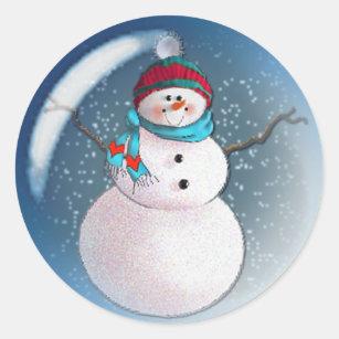 Happy Snowman Stickers Christmas Stickers Cute Snowman Face Stickers Round Snowman Face with Carrot Nose Stickers Roll Sticker Set for Christmas Decor 500
