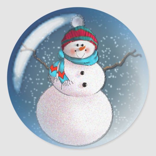SNOWMAN BUBBLE 3 by SHARON SHARPE Classic Round Sticker