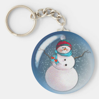 SNOWMAN BUBBLE 3 by SHARON SHARPE Keychain