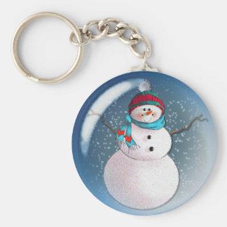 SNOWMAN BUBBLE 3 by SHARON SHARPE Keychain