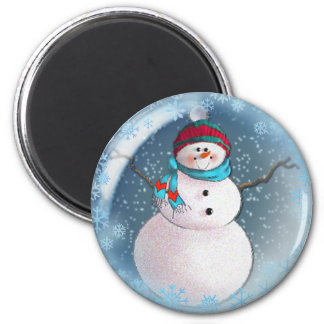 SNOWMAN BUBBLE 3 SNOWFLAKES by SHARON SHARPE 2 Inch Round Magnet