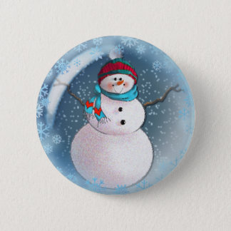 SNOWMAN BUBBLE by 3 SNOWFLAKES SHARON SHARPE Button