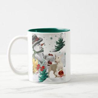 Snowman  & Bull Terrier Christmas Mug