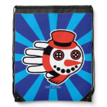 Hand shaped Snowman Button Eyes and Smiley Face Drawstring Bag