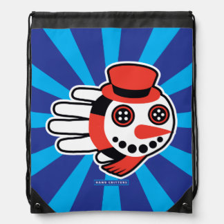 Snowman Button Eyes and Smiley Face Drawstring Bag