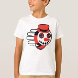 Hand shaped Snowman Button Eyes and Smiley Face T-Shirt