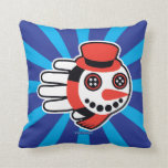 Hand shaped Snowman Button Eyes and Smiley Face Throw Pillow