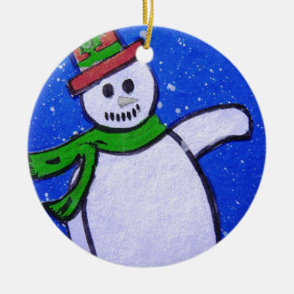 Snowman by pixi -art.com ceramic ornament
