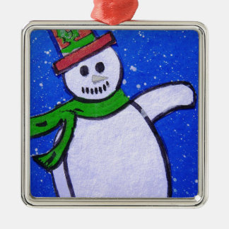 Snowman by pixi -art.com metal ornament