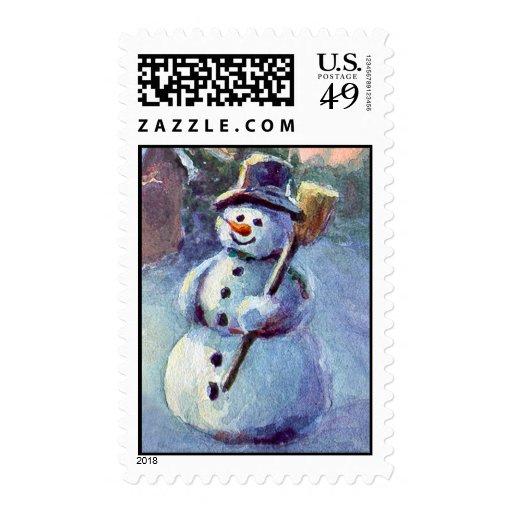 SNOWMAN by SHARON SHARPE Postage Stamp