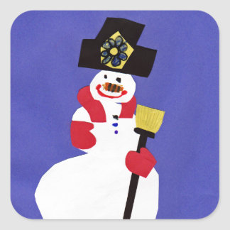Snowman by VictoriaShaylee Square Stickers