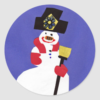 Snowman by VictoriaShaylee Round Stickers