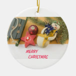 snowman candle and bauble christmas tree ornaments