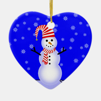Snowman, Candy Striped Hat n Scarf Heart Ornament