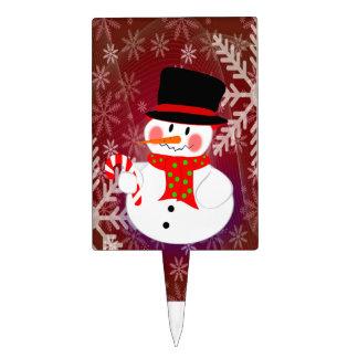 Snowman & Candycane Cake Topper