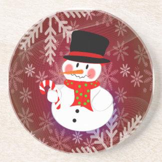 Snowman & Candycane Drink Coaster