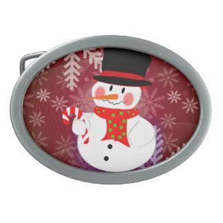 Snowman & Candycane Oval Belt Buckle