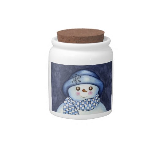 Snowman Canister Candy Dish