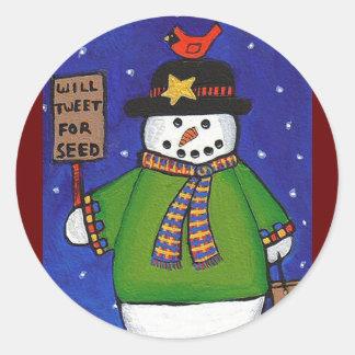 Snowman & Cardinal - Christmas stickers