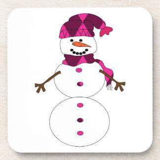 Snowman cartoon beverage coaster