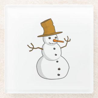 Snowman cartoon glass coaster