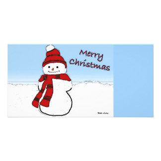 Snowman Cartoon Photo Card
