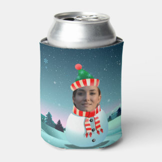 Snowman Cartoon With Customizable Face Can Cooler