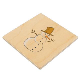 Snowman cartoon wooden coaster