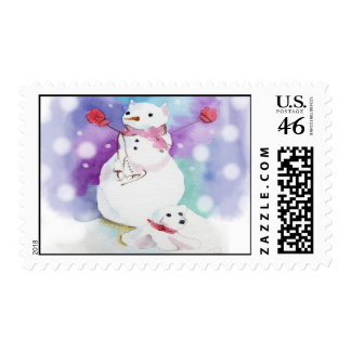 snowman cat & snowman dog stamp