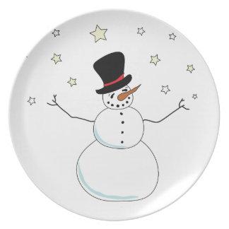 Snowman Celebration Melamine Plate