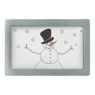Snowman Celebration Rectangular Belt Buckle