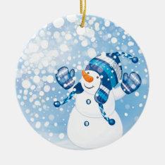 Snowman Ceramic Ornament at Zazzle