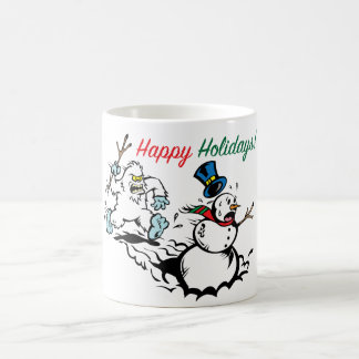 Snowman Chase Happy Holidays Mug