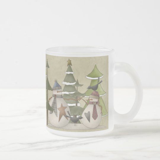 Snowman Chat Frosted Glass Coffee Mug