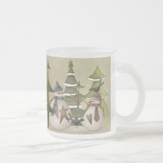 Snowman Chat 10 Oz Frosted Glass Coffee Mug
