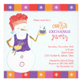 Snowman Chef Holiday Cookie Swap Party Invitations