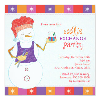 "Snowman Chef Holiday Cookie Swap Party Invitations 5.25"" Square Invitation Card"