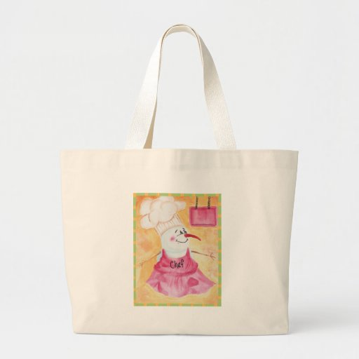 Snowman Chef in Apron & Chef's Hat Tote Bags